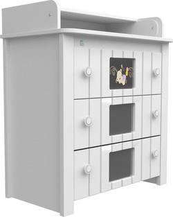 Верес комод-пеленатор декор Мишка на стекле Белый 24.06ver