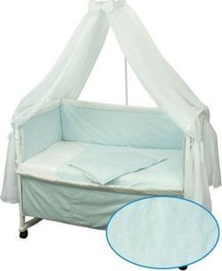 """Руно комплект в детскую кроватку """"Люкс"""" с вышивкой 7 предметов голубой 964.50У.2"""