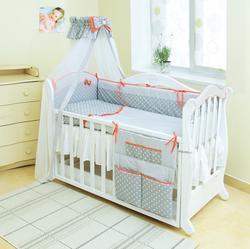 Twins постельное белье Premium для новорожденных P-003 Glamur серый/корал 4944tw