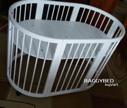 Ingvart кроватка-трансформер 7-в-1 Buggybed Round Белый люлька 60х71, кроватка 60х117 1729003in