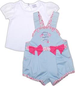 """Garden baby комплект """"Цветочный автомобильчик"""" полукомбинезон шортиками + футболка 80 40150-16/40-80-біло/блакитний"""