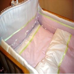 """Руно комплект в детскую кроватку """"Лапушка"""" с кружевом 7 предметов Розовый 979.У.1"""